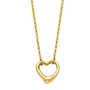 Jewelry - 14k solid yellow gold open heart Pendant Necklace